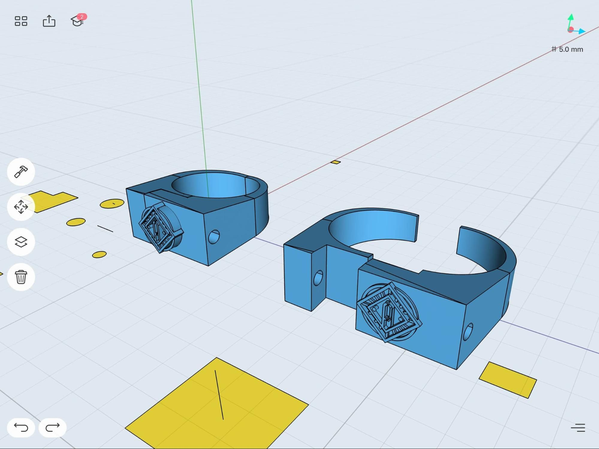 3D model of a ring prototype in Shapr3D