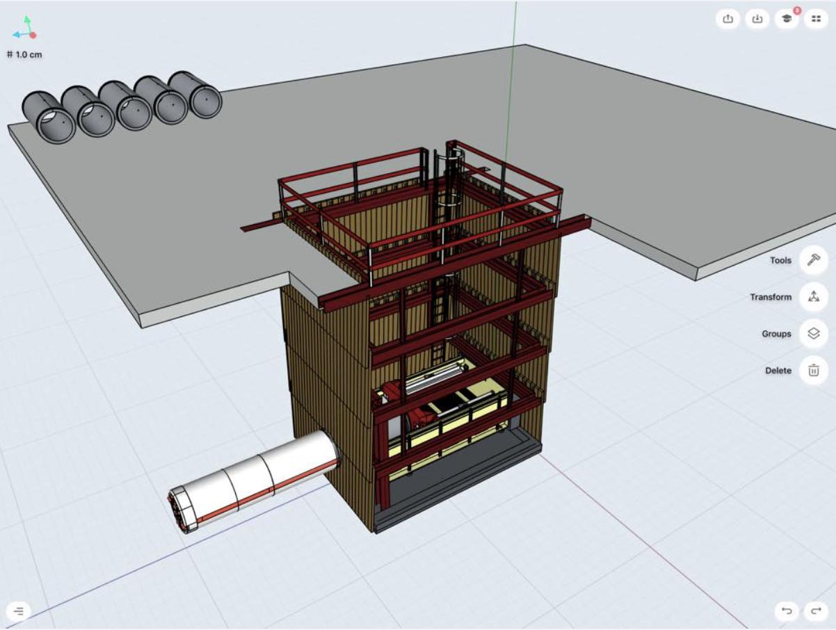 3d model of an underground boring machine