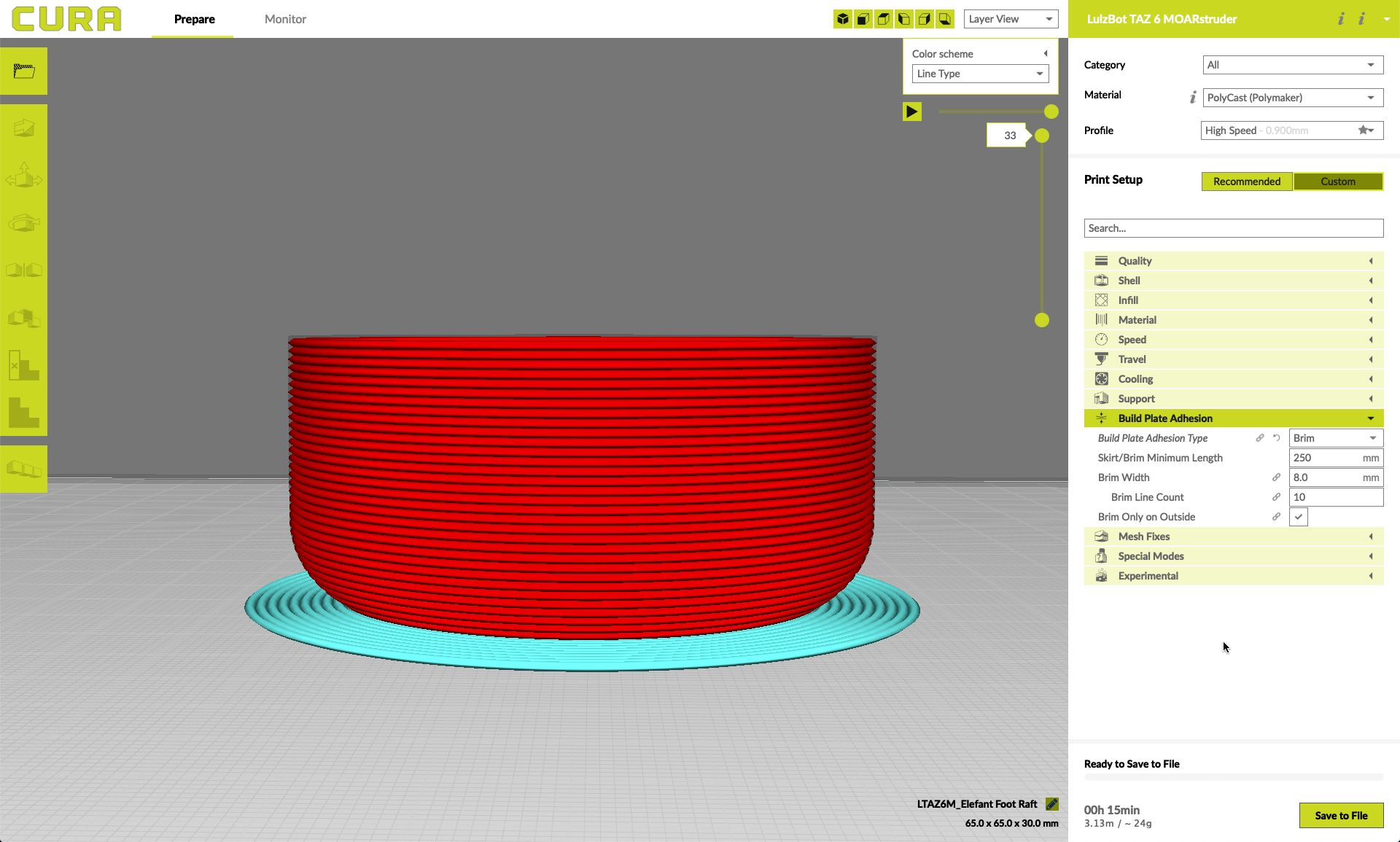 Model of a brim in Lulzbot's Cura slicer software