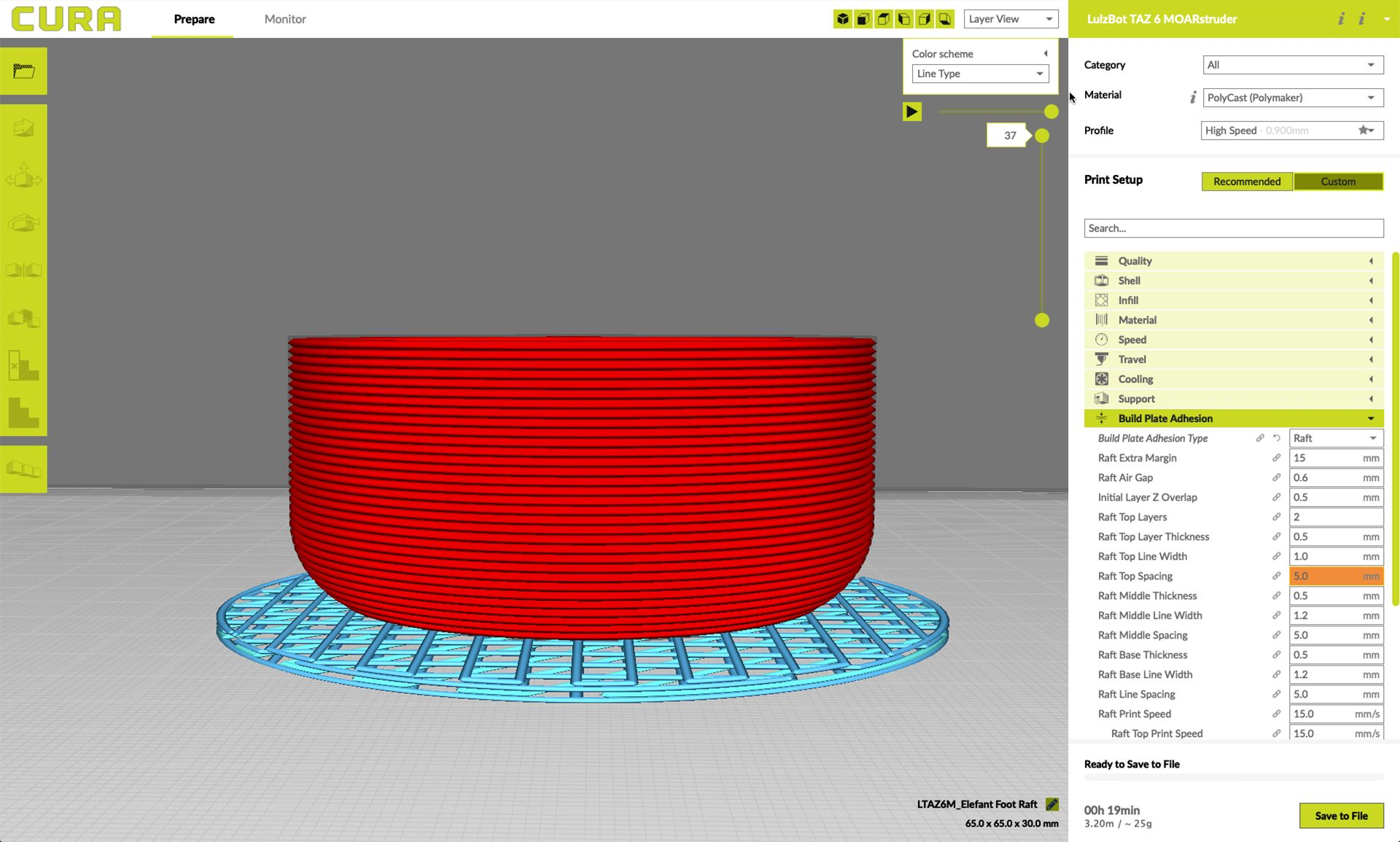 Model of a raft in Lulzbot's Cura slicer software