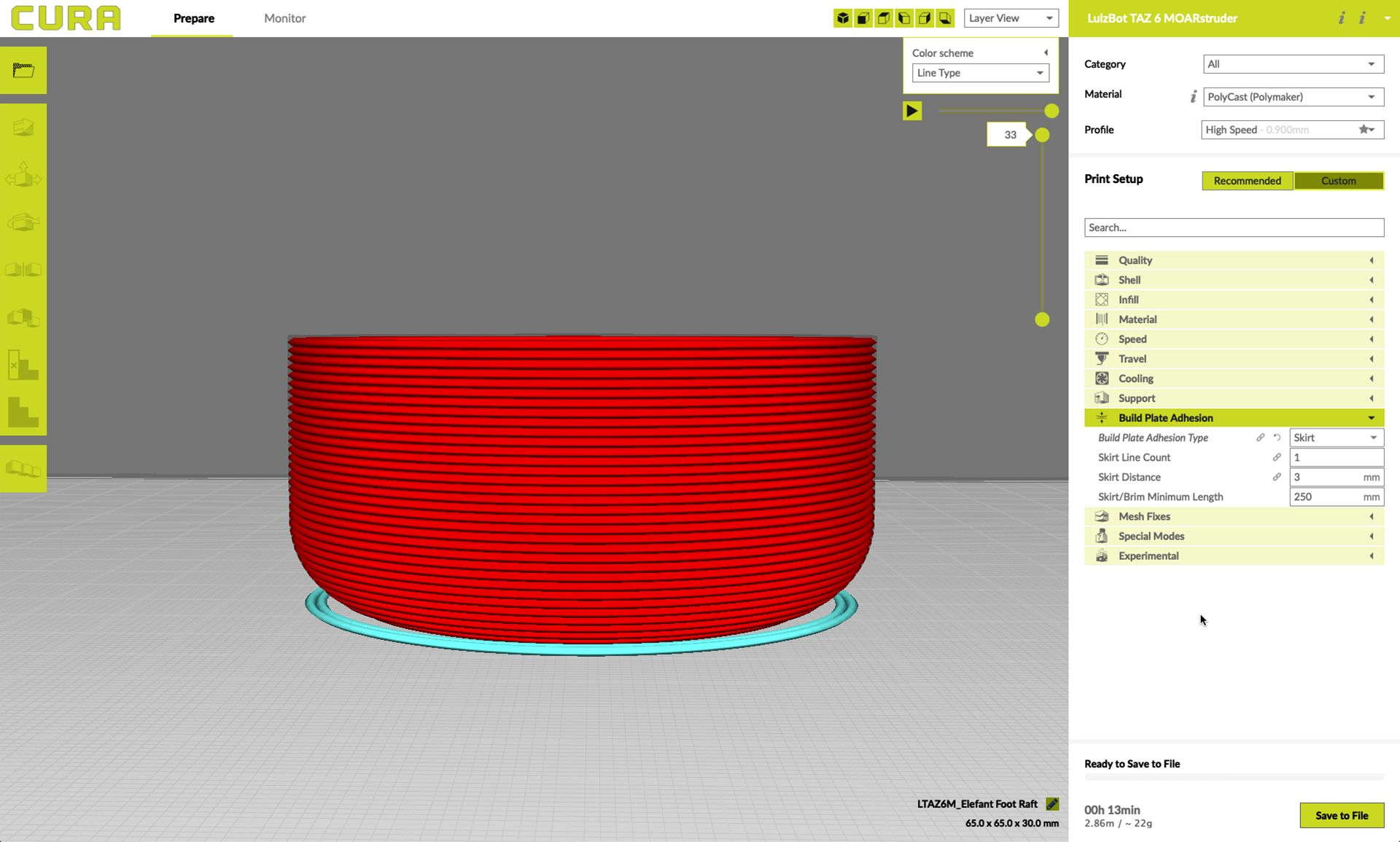Model of a skirt in Lulzbot's Cura slicer software