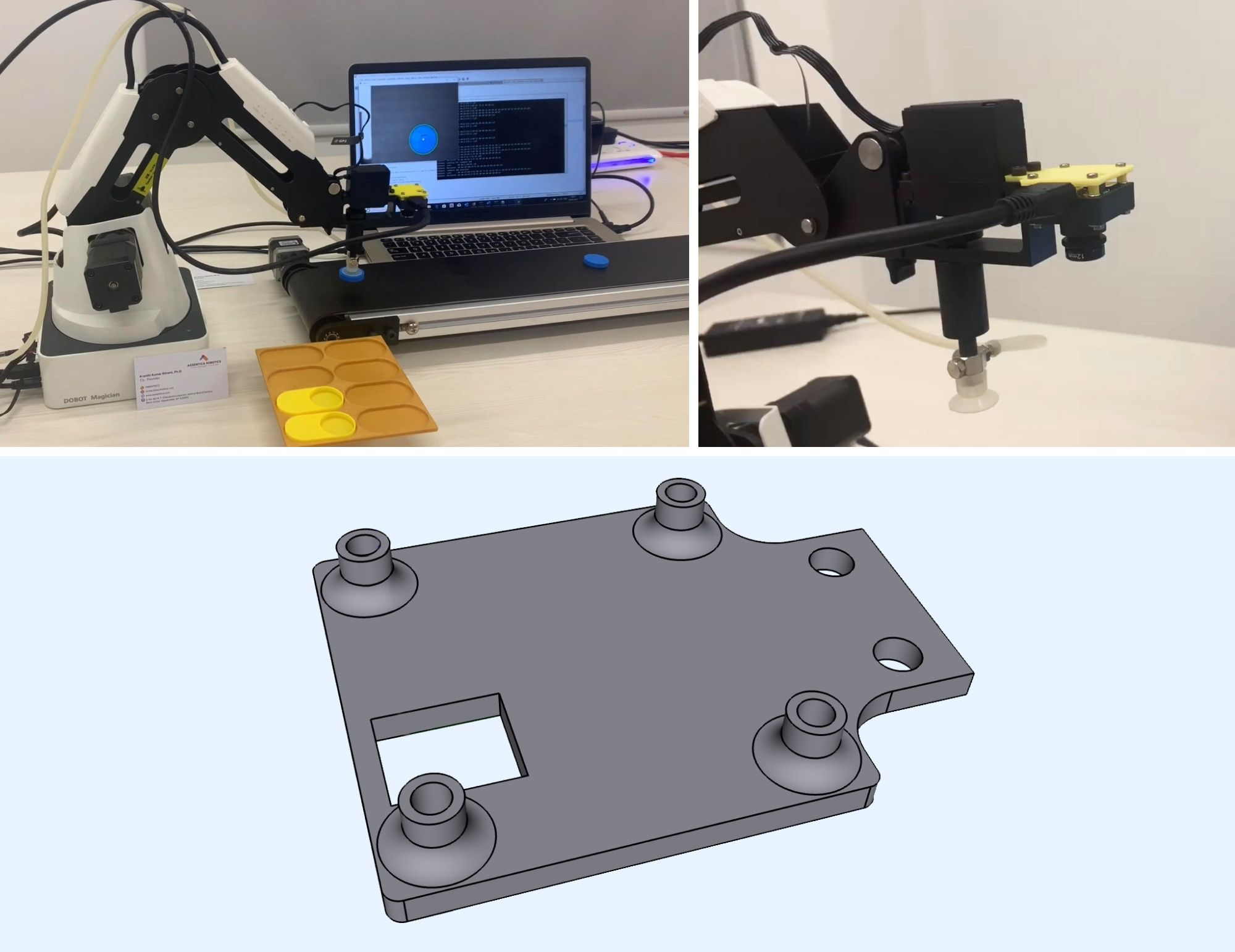 Assemtica Robotics fixture model designed in Shapr3D for and 3D printed