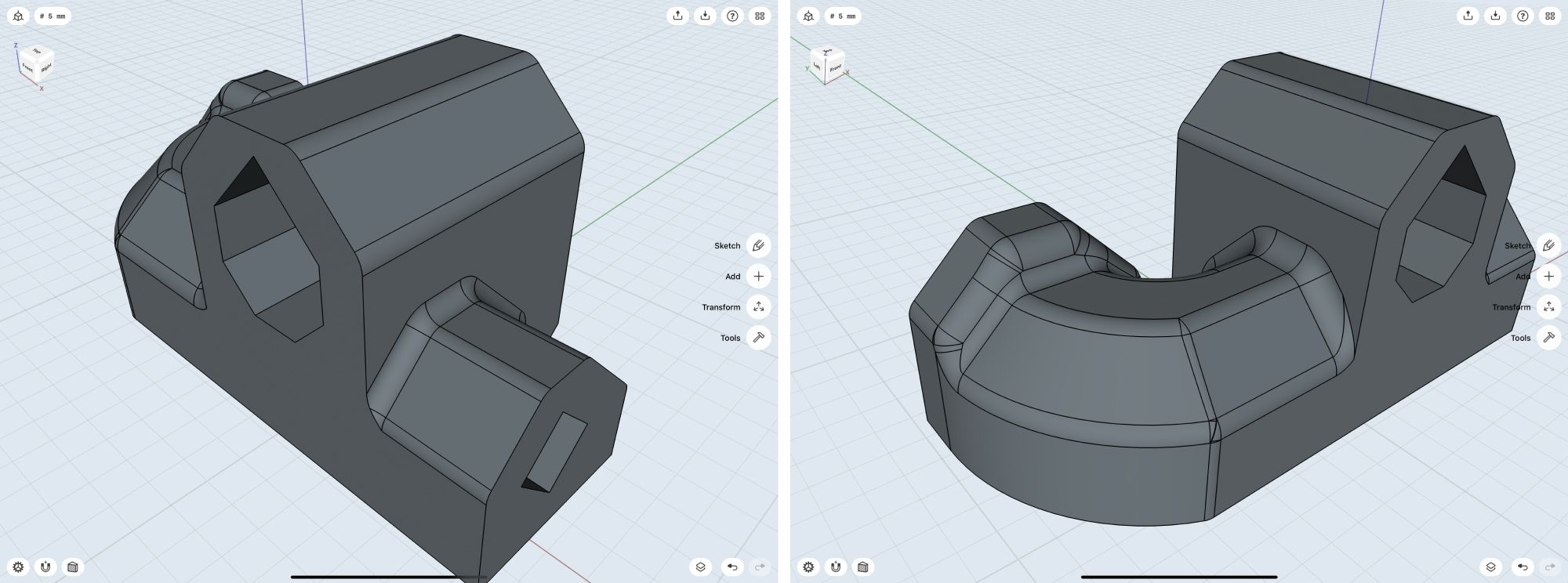 Black and Decker housing model in shapr3D