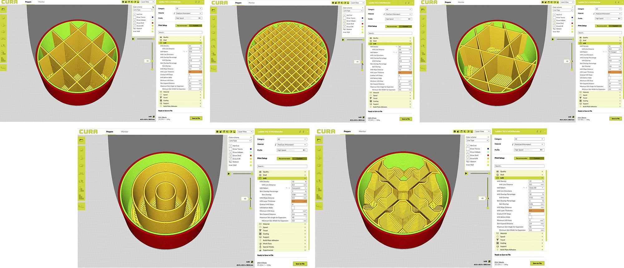 CURA lulzbot screenshots of different infills