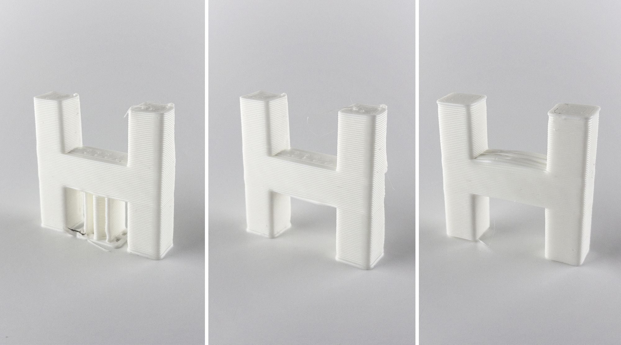 3D printed H shapes with and without supports