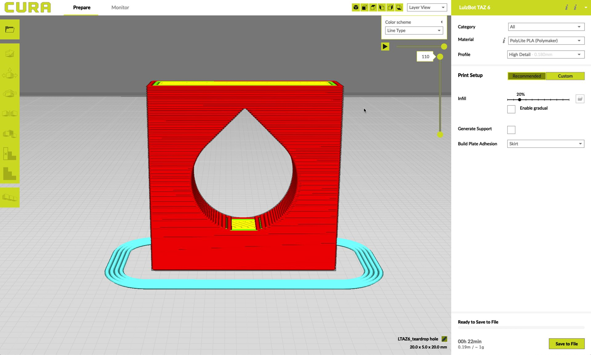 Teardrop designed hole in 3D printing geometry