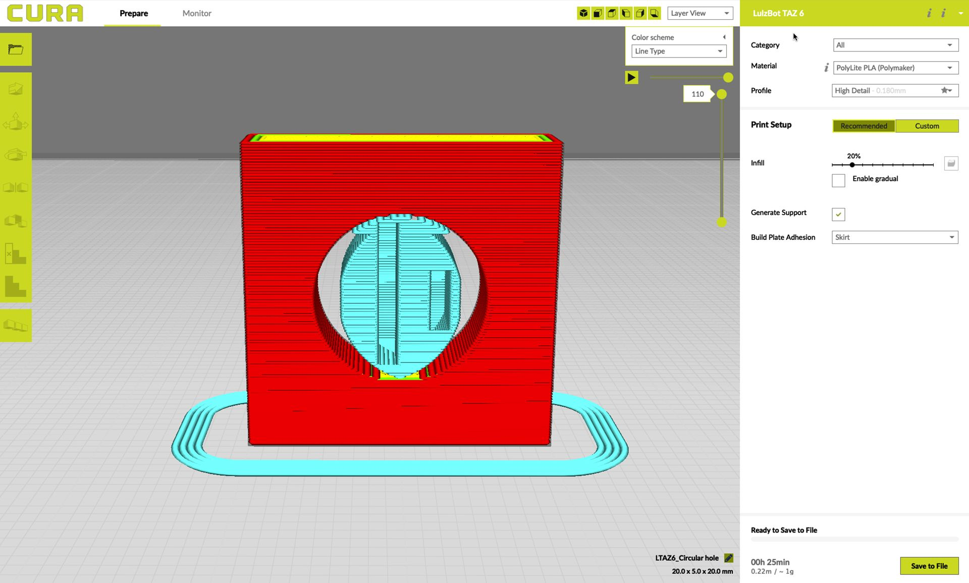 Vertical hole with supports in Lulzbot Cura slicer software