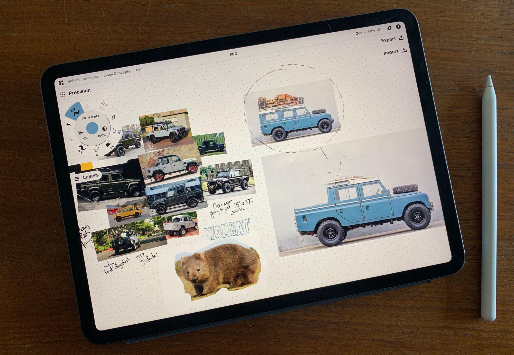 Jaunt Motors moodboard in Concepts app