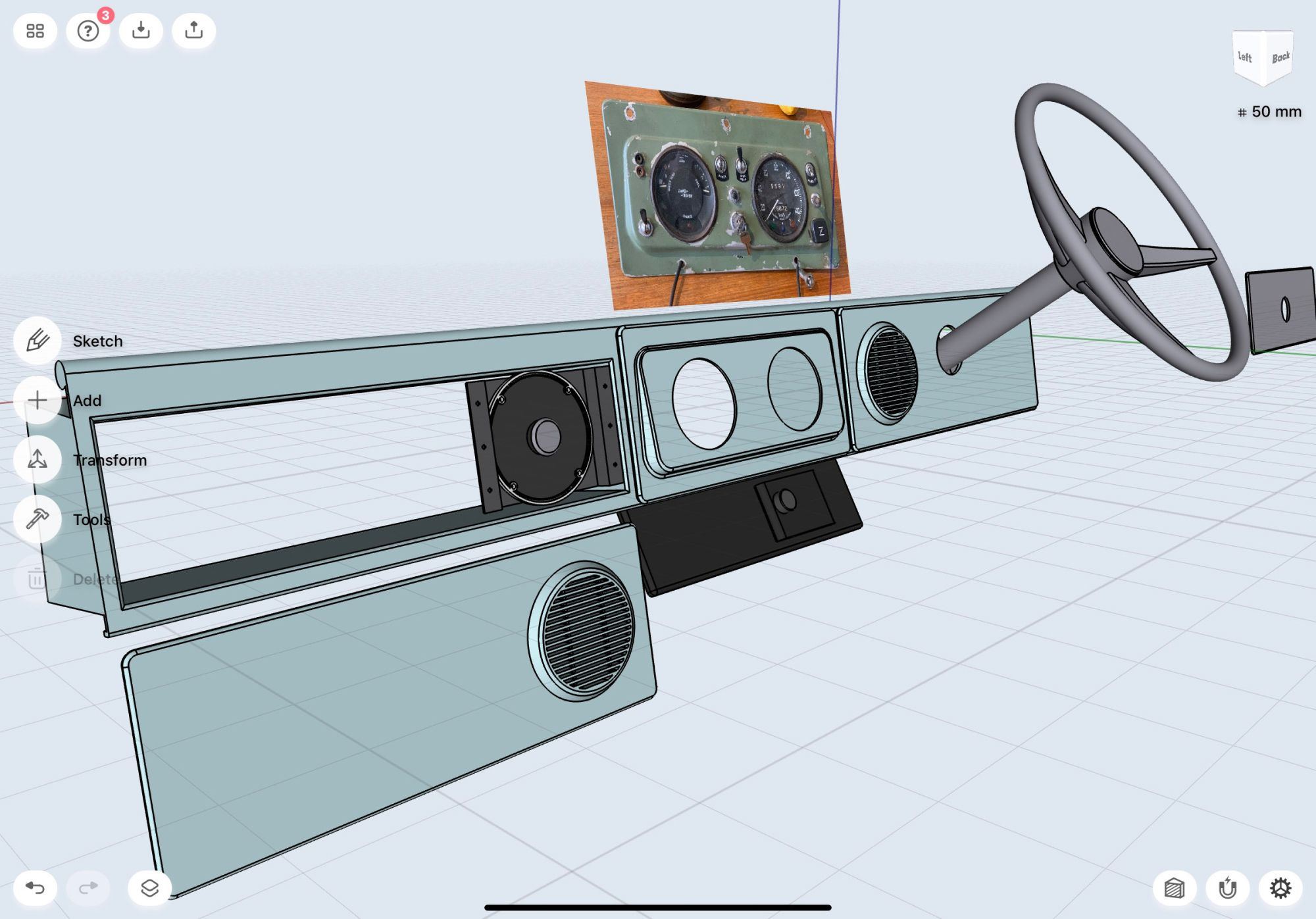 3D model of a Land Rover dashboard in Shapr3D