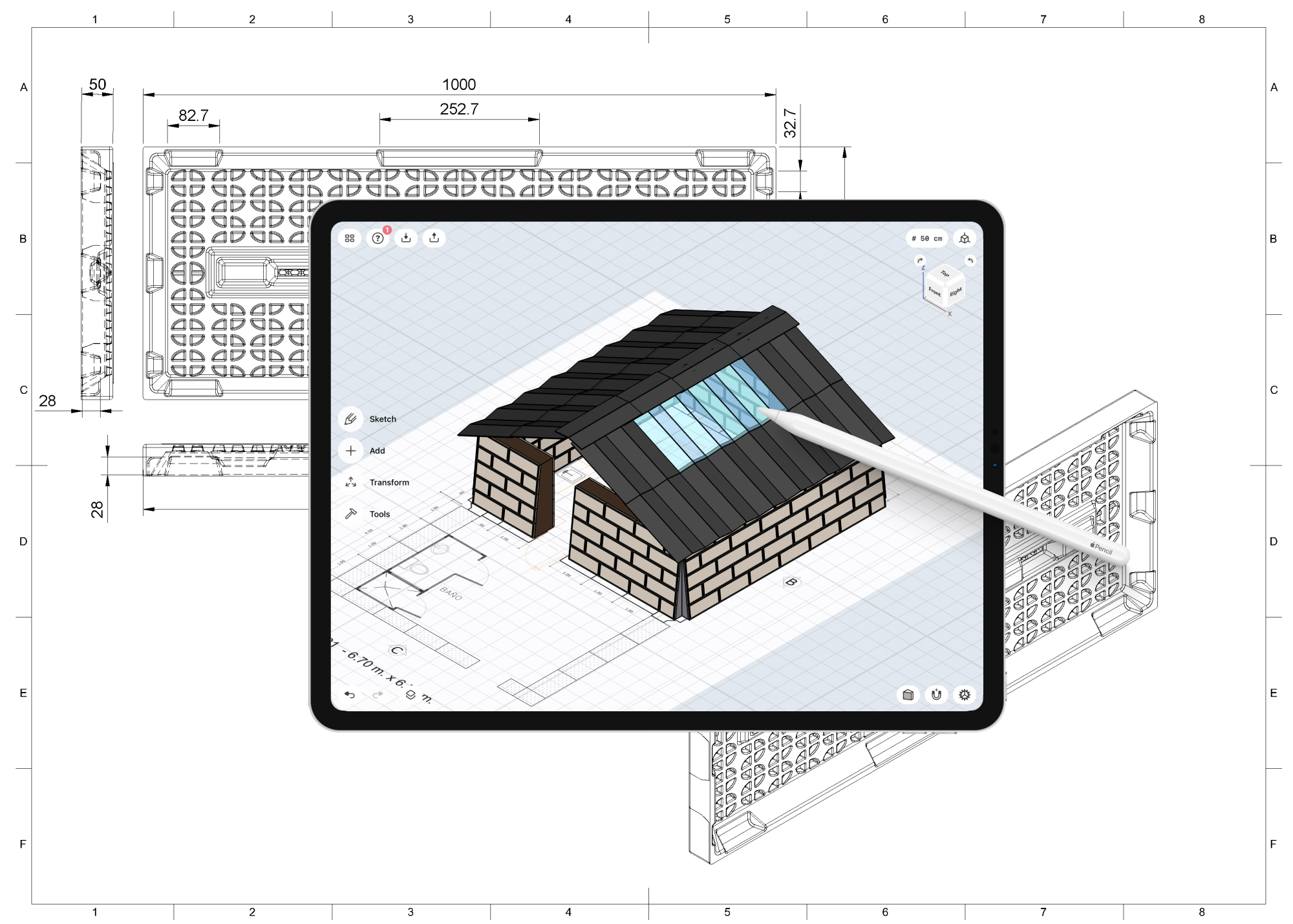 Design concept of emergency housing on Shapr3D on iPad