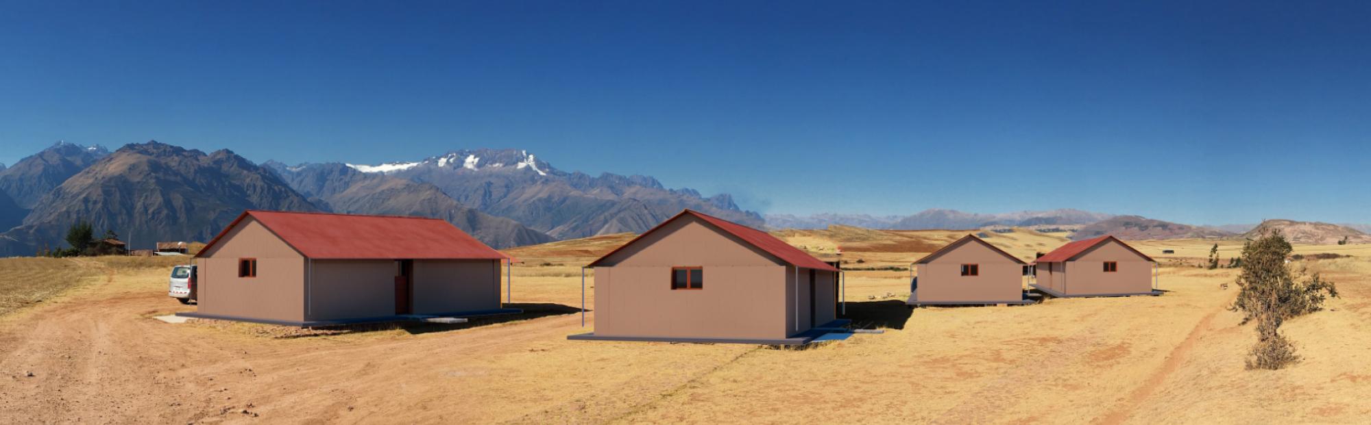 Rednered concept of Plastidobe houses in Peru