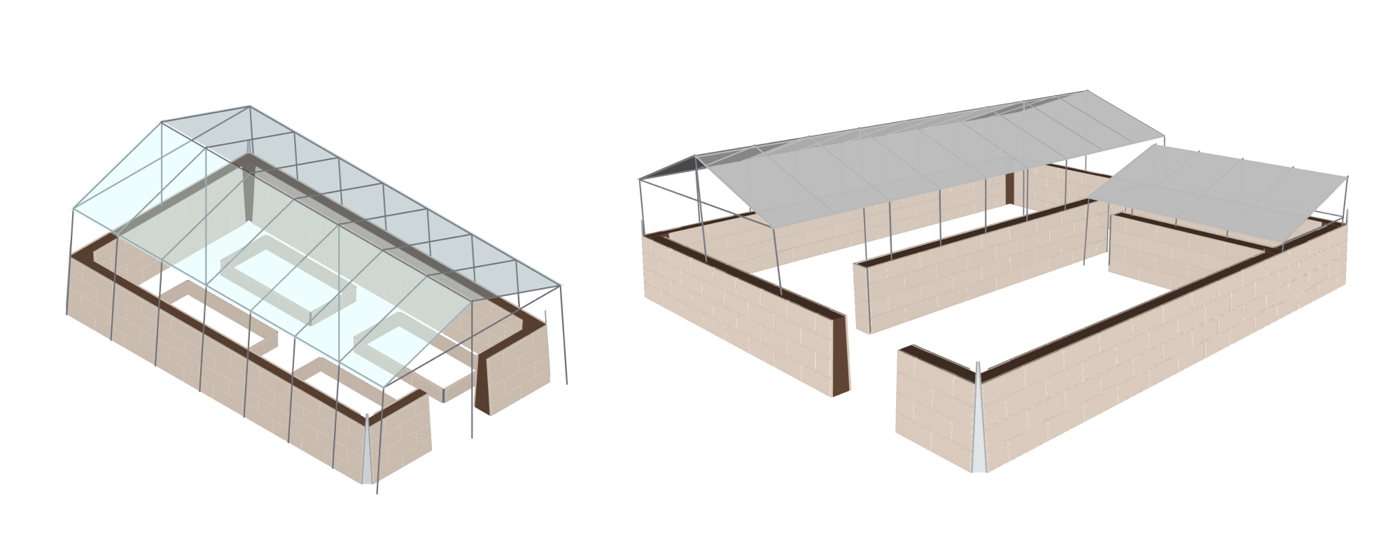 Shapr3D 3D concept of greenhouses and insulated stables