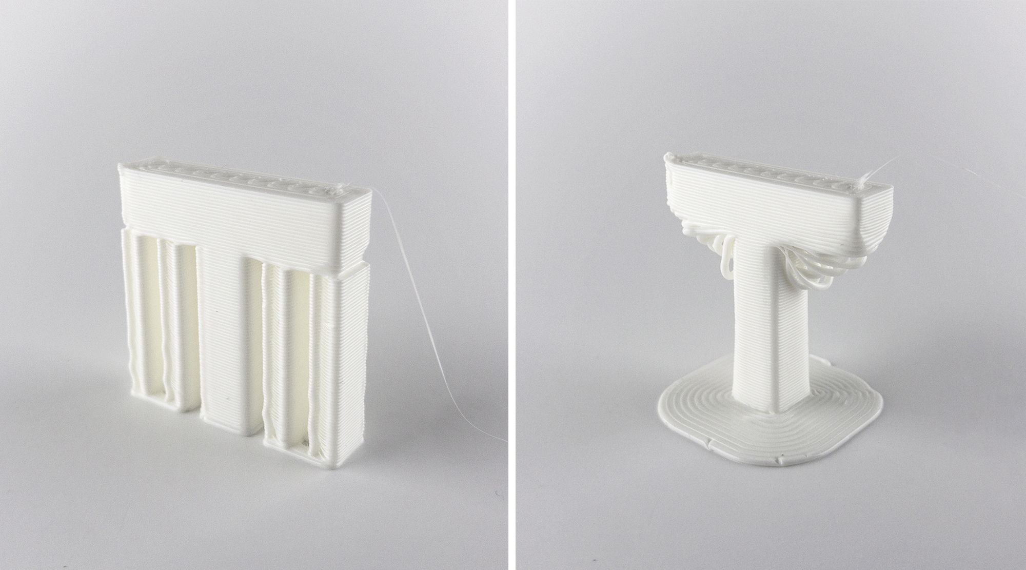 Two 'T' shaped models 3D printed with and without supports