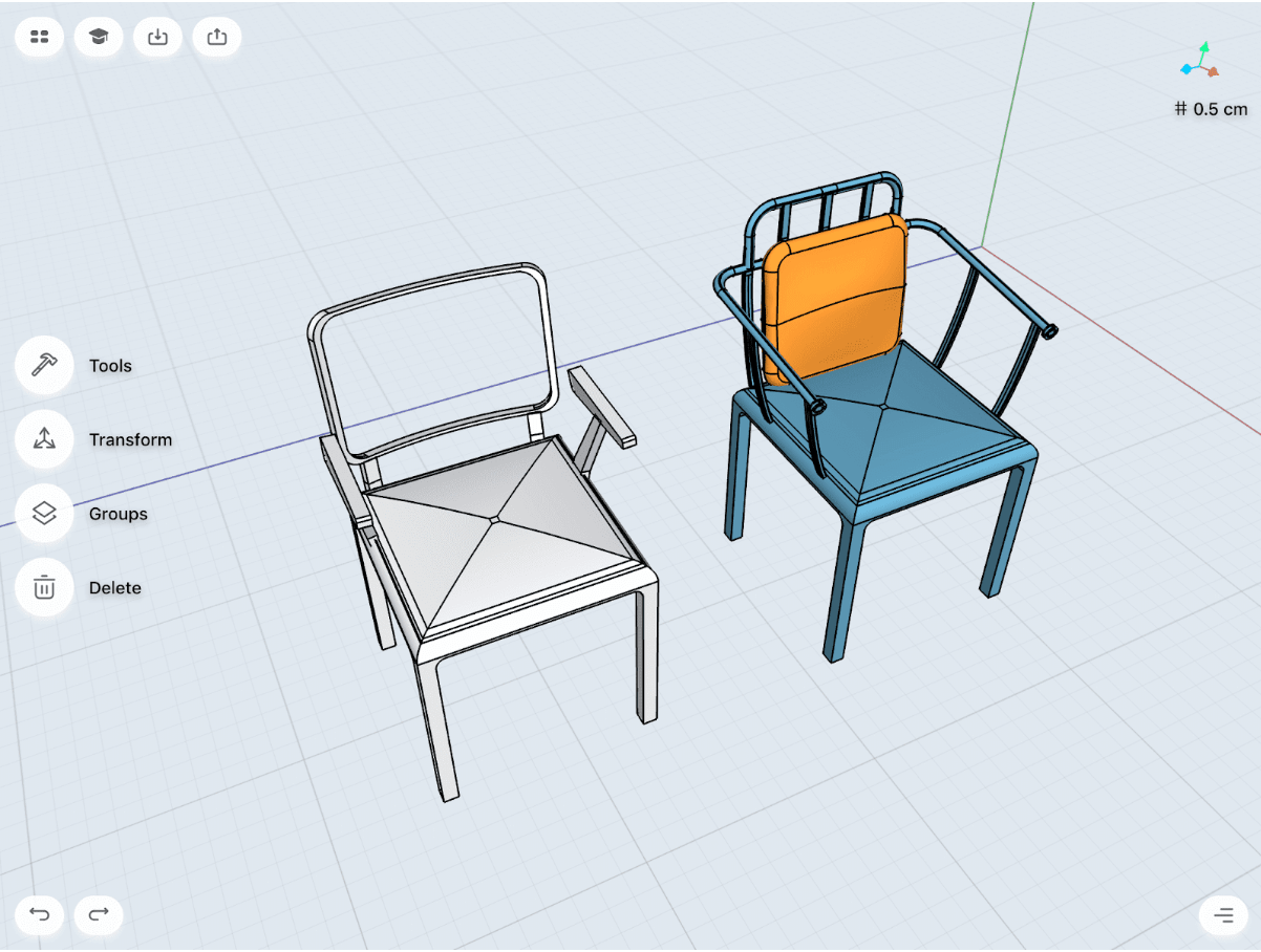 chair concept design in shapr3d