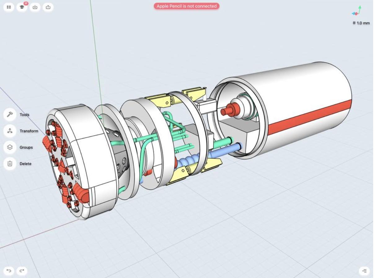 detail of a boring machine model