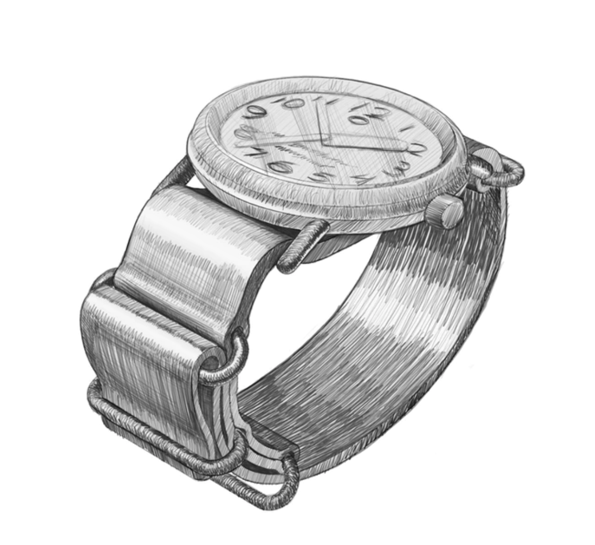 handdrawn sketch of watch prototype