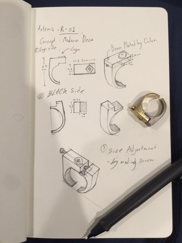 handdrawn sketches of ring design