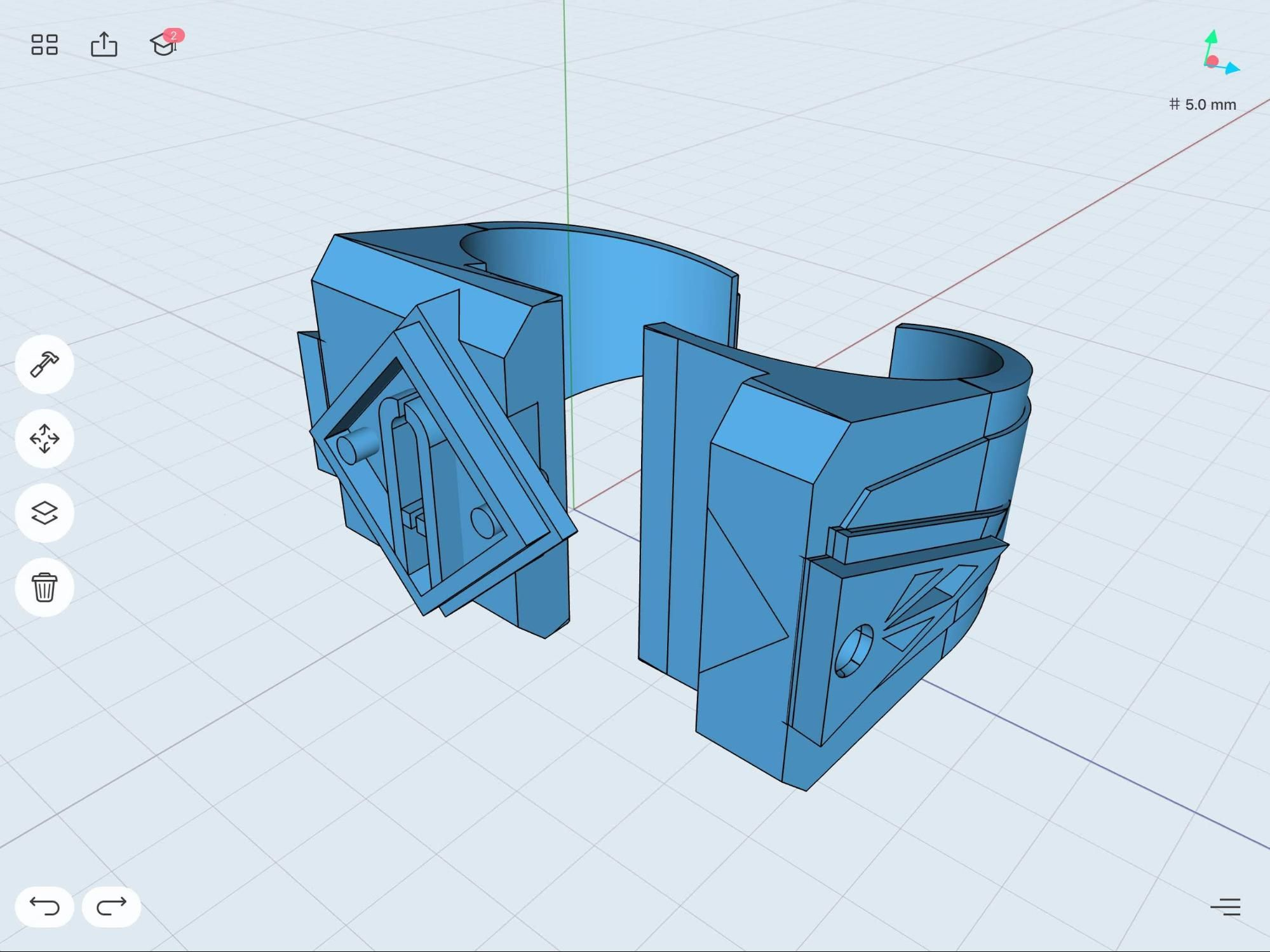 model of ring concept pieces in shapr3d