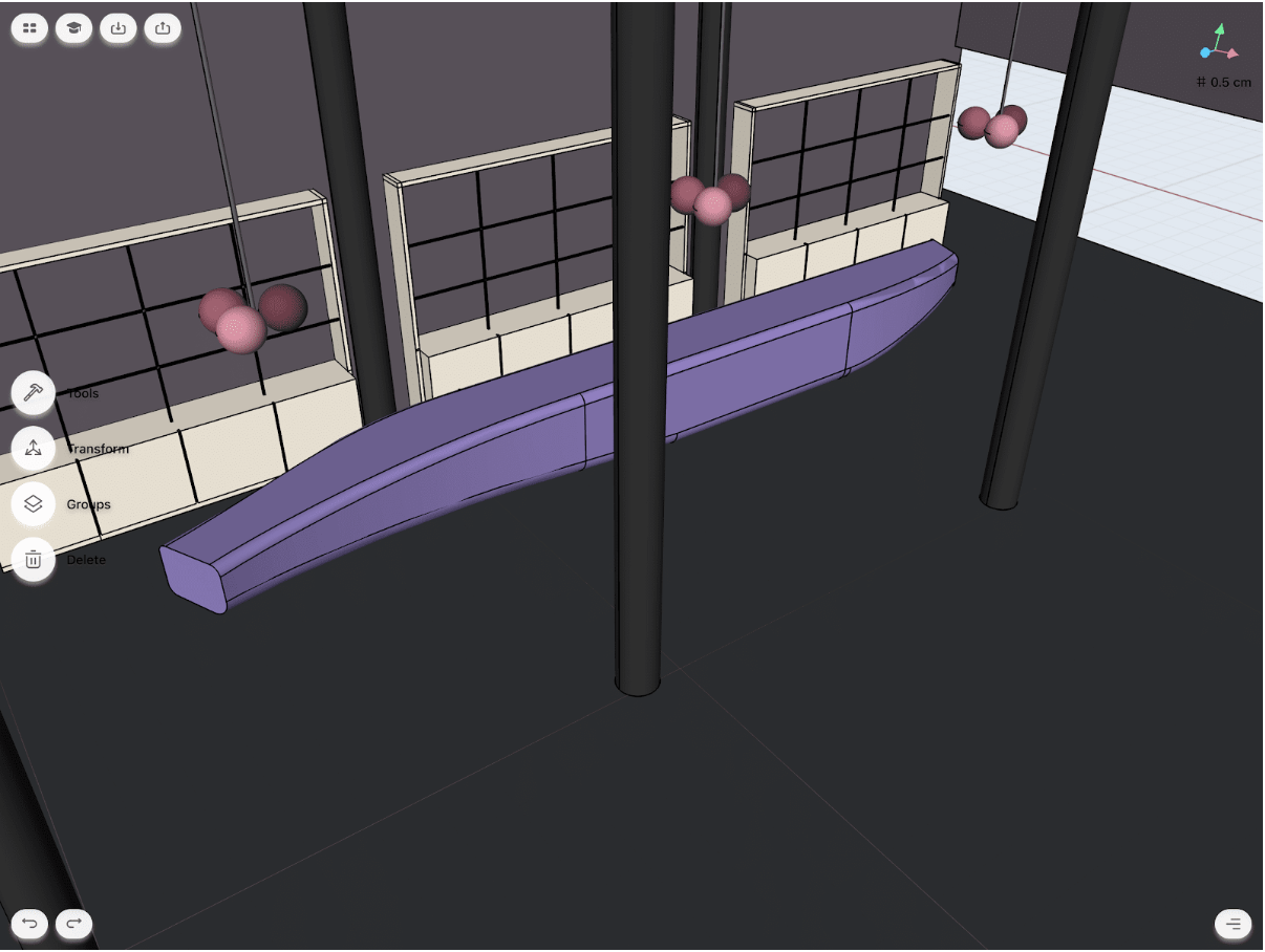 restaurant interior design model on CAD app